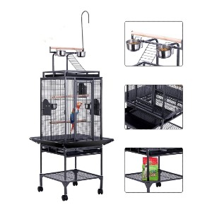 VIVOHOME 72 Inch Wrought Iron Large Bird Cage - Best Bird Cages for Conures: Detachable play area