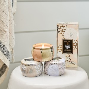 VOLUSPA Vanilla Mini Tin Candle Set - 3 Sets - Best Scented Candles for Bedroom: Warm Scent Set