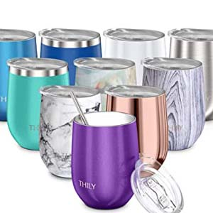 Thily Vacuum Insulated Stemless Wine Tumbler - Best Tumbler for Cold Drinks: Triple-insulated tumbler