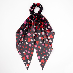 Claire's Valentine's Day Hair  - Best Scrunchies for Thick Hair: Printed All Over with Pink, White, and Red Hearts