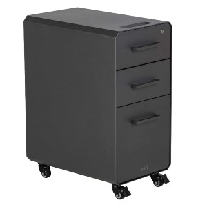 Vari Slim File Cabinet for Office Storage - Best File Cabinets for Home Office: Easy Move with Roll-and-Lock Caster Wheels