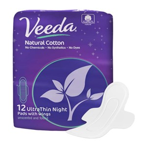 Veeda  Ultra Thin Absorbent Overnight Pads - Best Organic Pads for Periods:  Body-hugging design