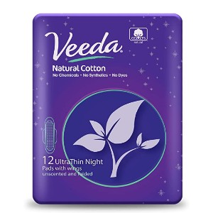 Veeda Ultra Thin Super Absorbent Night Pads - Best Organic Pads for Heavy Flow: Body-hugging design