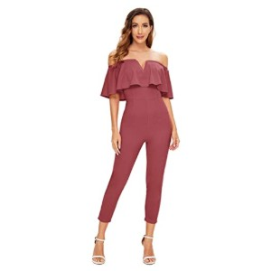 Verdusa Women's Elegant Off Shoulder Ruffle Jumpsuit - Best Jumpsuits for Petites: Best for budget