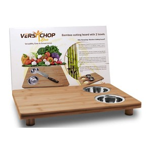 VersaChop  Duo Bamboo Cutting Board with 2 Bowls - Best Cutting Board with Trays: No more additional bowl