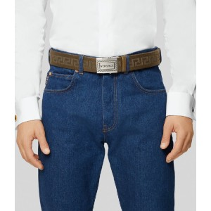 Versace 90S VINTAGE LOGO BELT - Best Men's Belt for Jeans: Vintage Belt for Casual Look