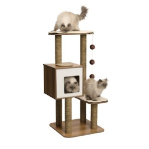 Vesper High Base 47.8-in Modern Cat Tree & Condo - Best Cat Tree for Small Spaces: Cat Tree with Bed Cushions