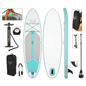 Vilano Journey Inflatable SUP Stand up Paddle Board Kit - Best Inflatable Paddle Board Under $400: Comfortable Grip Pad Paddle Board