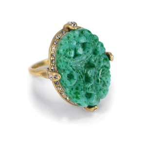 Shelley Cooper Jewelry Vintage Jade Glass Ring - Best Jewelry Gifts for Valentine's Day:  Unique and antique