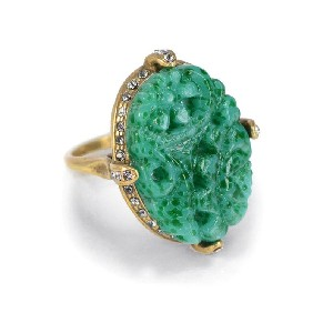 Shelley Cooper Jewelry Vintage Jade Glass Ring - Best Jewelry for Off the Shoulder Dress: Unique and antique