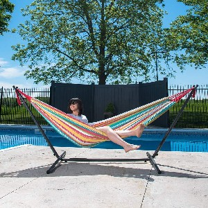 Vivere Double Cotton Hammock with Space Saving Steel Stand - Best 2-Person Hammock with Stand: Hammock with Stunning Color Options