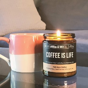 WAX & WIT Scented Soy Candle Infused with Kona Coffee - Best Scented Candles on Amazon: Kane Coffee Scent