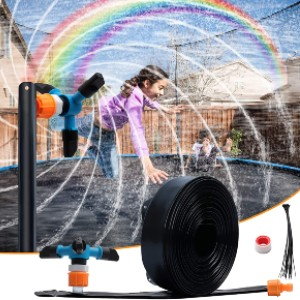 WDERNI Outdoor Waterslides Sprinkler  - Best Trampoline Sprinkler: It rotates automatically!