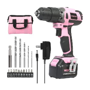 WORKPRO Pink Cordless 20V Lithium-ion Drill - Best Drill for Home Use: Super Safe and Comfortable to Use