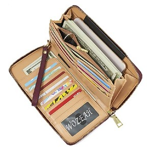 WOZEAH Zip Around Wallet - Best Wallet for Lots of Cards: Super affordable with lots of functions