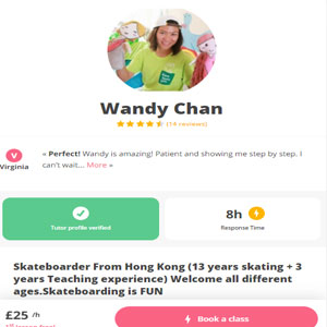 superprof Skateboarding Course by Wandy Chan - Best Online Skateboarding Lessons: Fun and Safety Online Skateboard Lesson with Wandy Chan