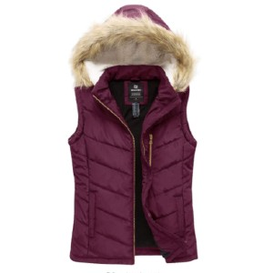 Wantdo Women's Thicken Winter Vest - Best Down Vests for Women: Vest with Lambswool Hood with Fur