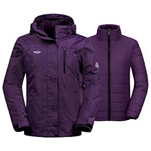 Wantdo Women's Winter Ski Jacket - Best Raincoats for Cycling: Windproof and warm