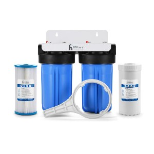 iFilters Well Water Whole House Filtration System - Best Water Filtration System for Well Water: 2-Stage with 30 Microns Washable Pleated Sediment Filter