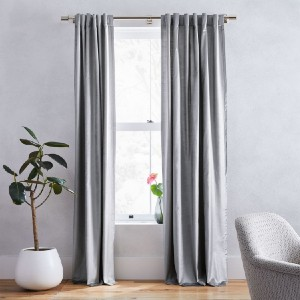 West Elm Cotton Luster Velvet Curtain  - Best Curtains for Living Room: Elegant Velvet Curtain