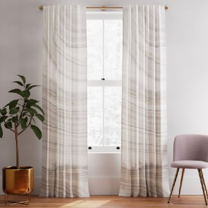 West Elm Cotton Canvas Marble Curtains (Set of 2) - Best Curtains for Bedroom: Curtain with Unique Whirls and Swirls
