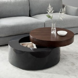 West Elm Stacked Disk Storage Coffee Table - Walnut/Anthracite - Best Coffee Table with Storage: Clever Round Coffee Table