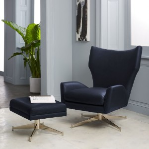 West Elm Hemming Leather Swivel Armchair - Best Leather Armchair: High Back Design