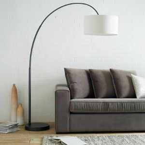 West Elm Overarching Linen Shade Floor Lamp - Best Floor Lamp for Reading: Warm and Calming Light