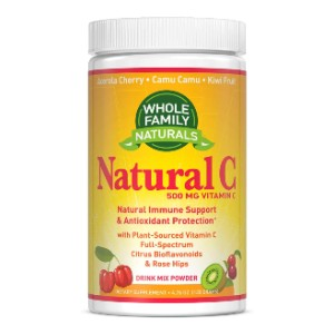 Whole Family Naturals Natural Vitamin C Powder with Acerola Cherry 500mg - Best Vitamin C Supplement for Adults: Safe Ingredients