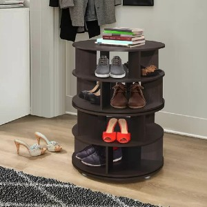 Winston Porter 360° Rotating Entryway 16 Pair Shoe Rack - Best Shoe Racks for Small Spaces: Round Storage Shoes