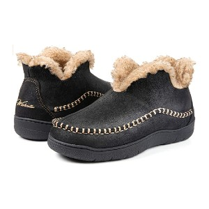 Wishcotton Men's Microsuede Fuzzy Warm Moccasin Slippers - Best Warm Slippers Mens: Unique hump-like collar