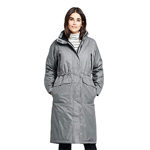 LAND'S END Heathered Squall Stadium Coat - Best Raincoats for Petites: Windproof and Showerproof