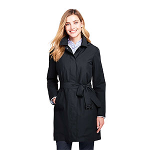LAND'S END Petite Hooded Waterproof Long Raincoat - Best Raincoats for Petites: Classic and Simple Look