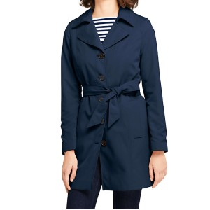 LAND'S END Women's Petite Lightweight Trench Coat - Best Trench Coats for Petites: Roomy welt pockets