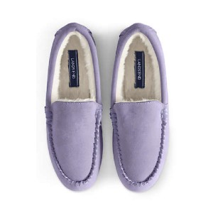 Lands' End Store Women's Suede Leather Moccasin Slippers - Best Warm Slippers Womens: Best for gift