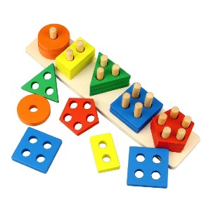 Dreampark Wooden Educational Toys - Best Wooden Stacking Toys: Identify basic geometric shapes