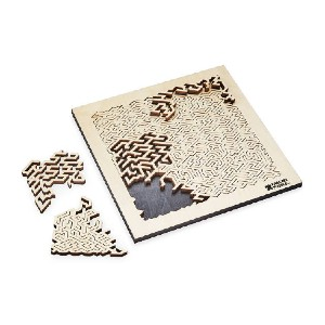 uncommon goods Wooden Fractal Puzzle - Best Wooden Puzzles: Finished with a Striking Aniline Toner