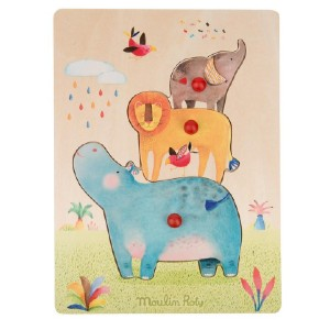 Simply Inspired Wooden Hippo Puzzle Les Papoum from Moulin Roty - Best Wooden Puzzles for Toddlers: All Solid Wood Used