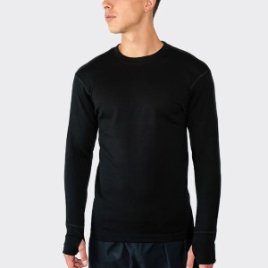 Woolx MEN'S GLACIER LONG SLEEVE CREW 400 HEAVYWEIGHT - Best Base Layers for Skiing: Extreme Warmth Base Layer