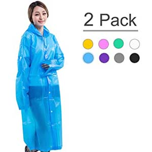 XZSUN Emergency EVA Rain Ponchos with Hoods - Best Raincoats for Disney: Perfectly dry from head to toes