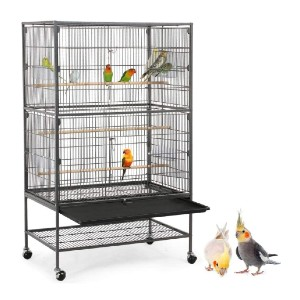 YAHEETECH 52-inch Wrought Iron Standing Large Flight King Bird Cage - Best Bird Cages for Conures: Heavy-duty rolling casters