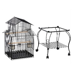 YAHEETECH 55-inch Rolling Standing Triple Roof Top Medium Parrot Cage - Best Bird Cage for Lovebirds: Unique triple-A roofing design