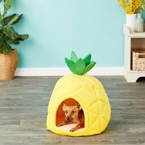 YML Pineapple Covered Cat & Dog Bed - Best Dog Beds for Small Dogs: Plush Cushion Pineapple Bed