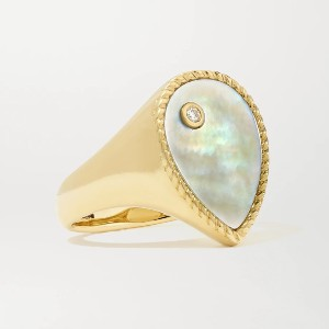 Yvonne Leon 9-Karat Gold Mother-of-Pearl and Diamond Ring - Best Jewelry for Black Dress: Elevate your overall look