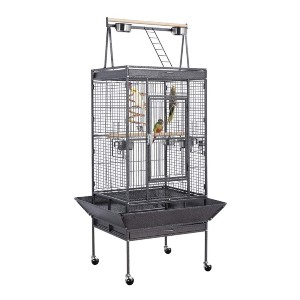 YAHEETECH 69-inch Wrought Iron Rolling Large Parrot Bird Cage - Best Bird Cages for Conures: Super fun playground