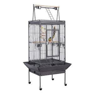 YAHEETECH 69-inch Wrought Iron Rolling Large Parrot Bird Cage - Best Bird Cages for Parakeets: Super fun playground