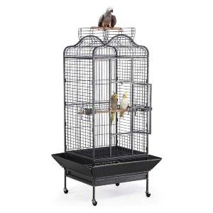 YAHEETECH Wrought Iron Rolling Open Play Top Bird Cage - Best Bird Cages for Budgies: Ultra-strong construction