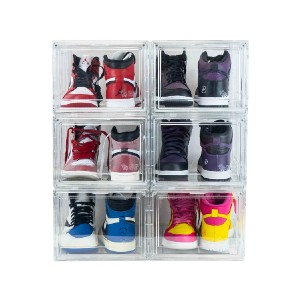 Yankee Kicks Premium Drop Front Sneaker Storage Containers - Best Shoe Storage Cabinet: Drop-Front Opening Storage Container