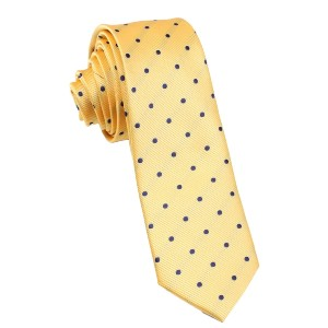 OTAA Yellow Skinny Tie with Navy Blue Polka Dots  - Best Ties for Striped Shirts: Be the center of attention
