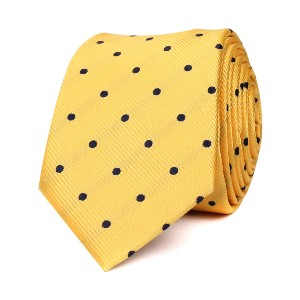 OTAA  Yellow Skinny Tie with Navy Blue Polka Dots  - Best Ties for White Shirts: It won't go unnoticed
